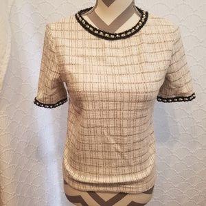 Zara Cream Tweed Classy Top